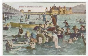 Bathing Crowd Great Salt Lake Utah 1910c postcard