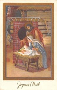 Joyeux Noel! Merry Christmas! Virgin Birth Stable Illustration 1956
