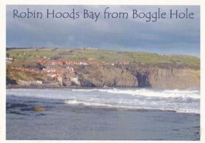 Robin Hoods Bay From Boggle Hole Sweet Shop Store Advertising Yorkshire Postcard