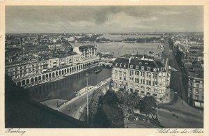 Postcard Germany Hamburg blick uber die Alsder aerial view rooftop channel