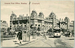 Vintage 1910s MUMBAI India Postcard General Post Office, BOMBAY Trolley Unused