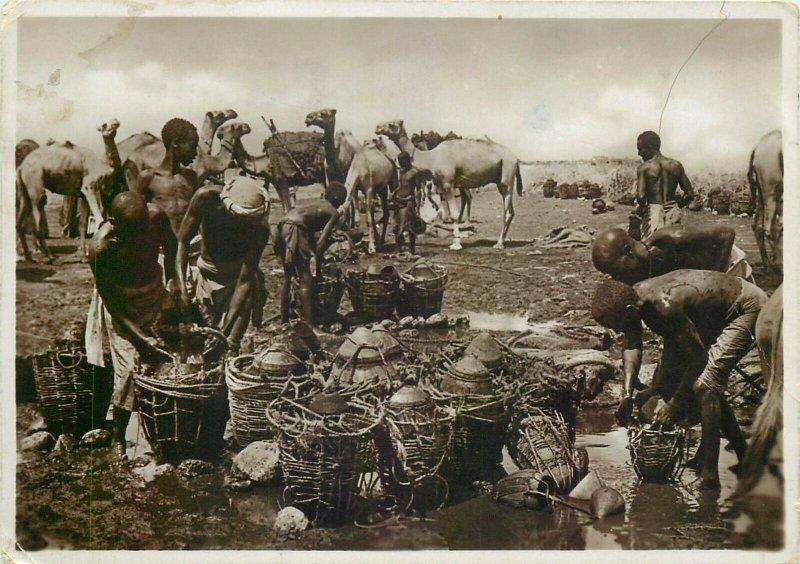 Italian Somalia Migiurtinia wells ethnic life foto postcard A. Parodi Mogadiscio