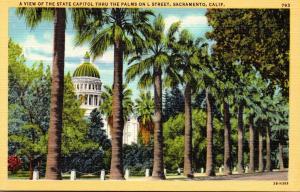 California Sacramento State Capitol Thru The Palms On L Street