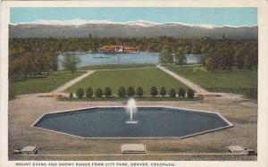 Mount Evans and Snowy Range from city park, Denver, Colorado, 10-20s