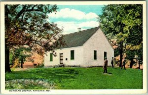 Antietam, Maryland Postcard DUNKARD CHURCH Building View Curteich 1930s Unused