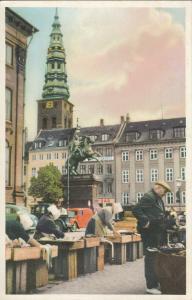 Denmark Copenhagen statue of bishop Absalon fish market semi-modern postcard