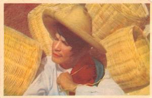 Michoacan Mexico Postcard Tarjeta Postal Young Basket Maker Michoacan