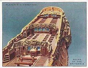 Player Vintage Cigarette Card Ship Models 1926 No 9 Decks of the Britannia 1700