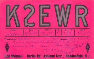 K2EWR Haddonfield, NJ, USA QSL 1954