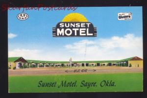 SAYRE OKLAHOMA SUNSET MOTEL ROUTE 66 AAA VINTAGE ADVERTISING POSTCARD