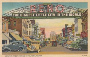 RENO, Nevada, 1937; Virginia Street looking South, The Biggest Little City in...