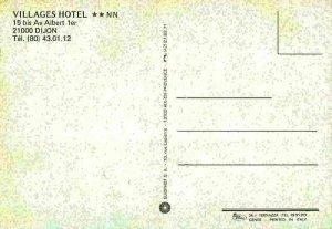 France Villages Hotel Dijon Restaurant Vintage Car Postcard