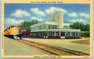 1940s Las Vegas NV Linen Postcard Union Pacific Railroad Depot Art Deco w/ Train
