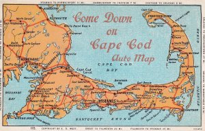 CAPE COD, Massachusetts, 1900-1910's; Cape Cod Auto Map