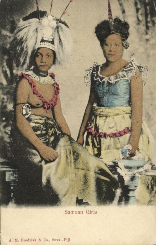 fiji islands, Native Samoan Girls (1899) Brodziak & Co.