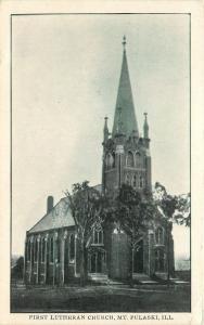 Mt Pulaski Illinois~First Luthern Church~1915 B&W Postcard