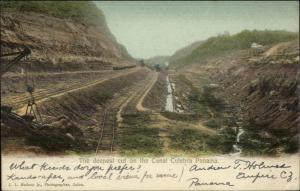 Panama Canal Culebra Deepest Cut 1908 Used Postcard