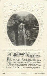 Postcard Greetings birthday flowers waterfall