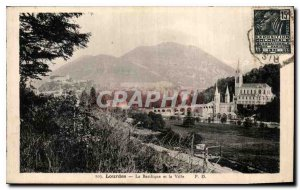 Old Postcard Lourdes Basilica and the City
