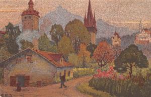 Switzerland Old Vintage Antique Post Card Museggturme M Gutsch Und Pilatus Un...