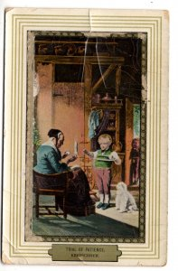Trial of Patience, Boy Holding Wool, Grandmother Knitting, Used 1910 New York