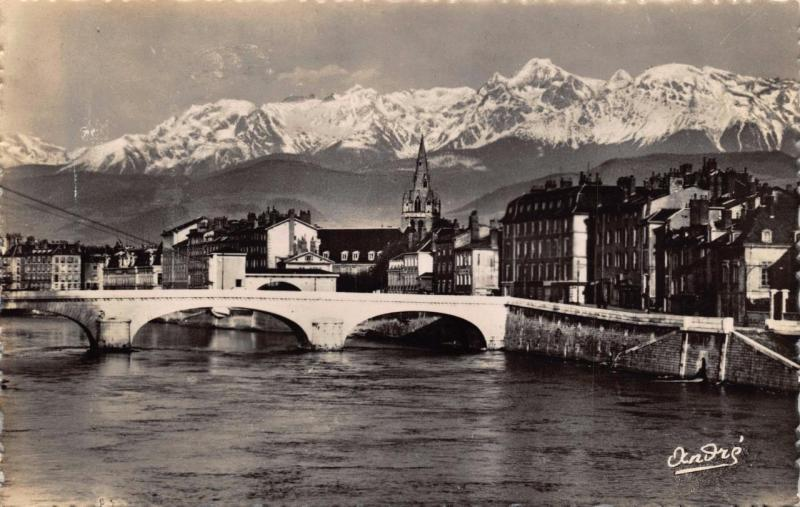 Vintage REAL PHOTO Postcard GRENOBLE River Bridge Hospital & The Alps FRANCE