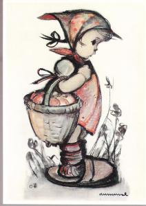 Hummel Card - Girl with Basket of Apples Unused