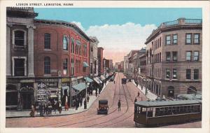 Maine Lewiston Lisbon Street Drug Store Trolley