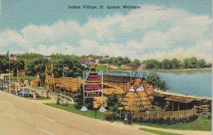 Michigan St Ignace Indian Village Curteich sk2708
