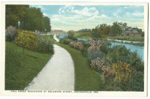 Fall Creek Boulevard at Delaware Street, Indianapolis, Indiana, early 1900s