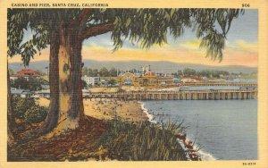Casino & Pier SANTA CRUZ, CA Beach c1940s Linen Vintage Postcard