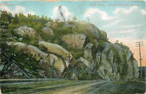 West Duluth Minnesota~13th Ave~Steps Up Rocky Cliff~RR Tracks~1909 Postcard