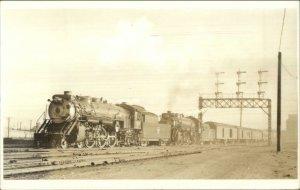 RR Train Arriving at Denver CO C&S 1939 THE SHOSHONE Real Photo Postcard