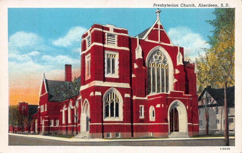 Presbyterian Church, Aberdeen, South Dakota, Early Linen Postcard, Unused