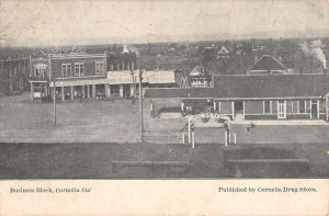 Cornelia Georgia Business Block Birdseye View Vintage Postcard KK713