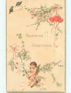 Divided-Back CUPID VALENTINE SCENE Cute Postcard W7687