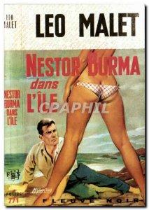 Postcard Modern Erotic Nude Woman Leo Malet Nestor Burma in & # 39ile