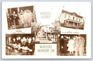 Danville IL~USO Railway & Joe Cannon's Homes~Soldier's Mail~Canteen~1945 RPPC PC