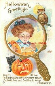 Halloween, Stecher No 248 C, Woman in Mirror Lighting a Jack o Lantern