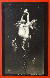 140367 FALERO Double Stars Nude Female SYMBOLIST Art VTG Russian postcard 1910