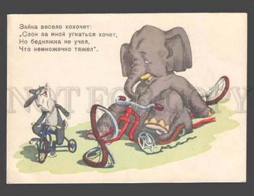 088497 Hare & ELEPHANT on BICYCLE Old Color Russian Comic PC