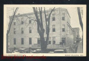 WEST PLAINS MISSOURI LARGEST HOTEL 1930's CARS VINTAGE ADVERTISING POSTCARD MO.