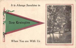 A21/ New Lexington Ohio Postcard Pennant Always Sunshine 1914
