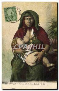 Old Postcard Eastern Beauty Tunisia Tunisia Bedouine breastfeeding her child