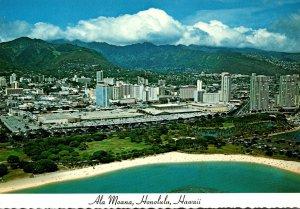 Hawaii Honolulu Aerial View Ala Moana Beach and Park