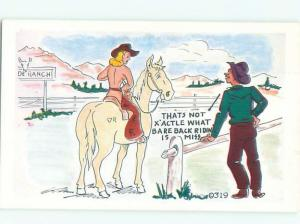 Pre-1980 Risque Comic western COWGIRL THINKS BAREBACK MEANS RIDING NUDE AB6972
