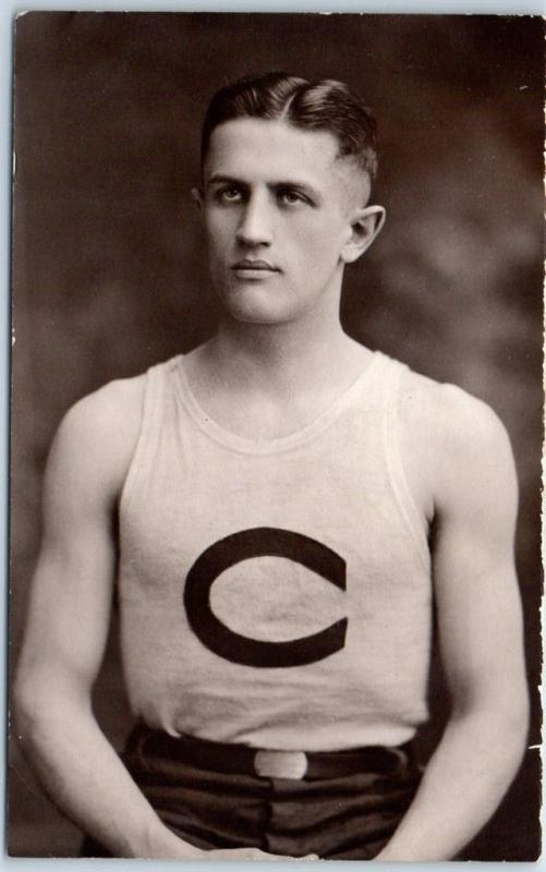 c1920s RPPC Real Photo Postcard ATHLETE (Probably Basketball Player) in Uniform