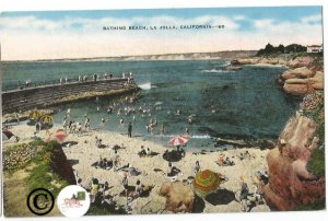 Vintage Linen Postcard Bathing Beach, La Jolla California Beach Scene Pier