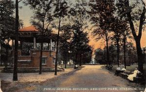 Streator Illinois~City Park Bandstand~Ladies on Bench~Public Service Bldg~1911