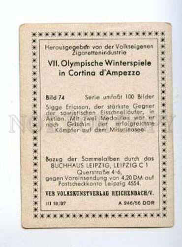 166980 VII Olympic SIGGE ERICSSON speed skater CIGARETTE card